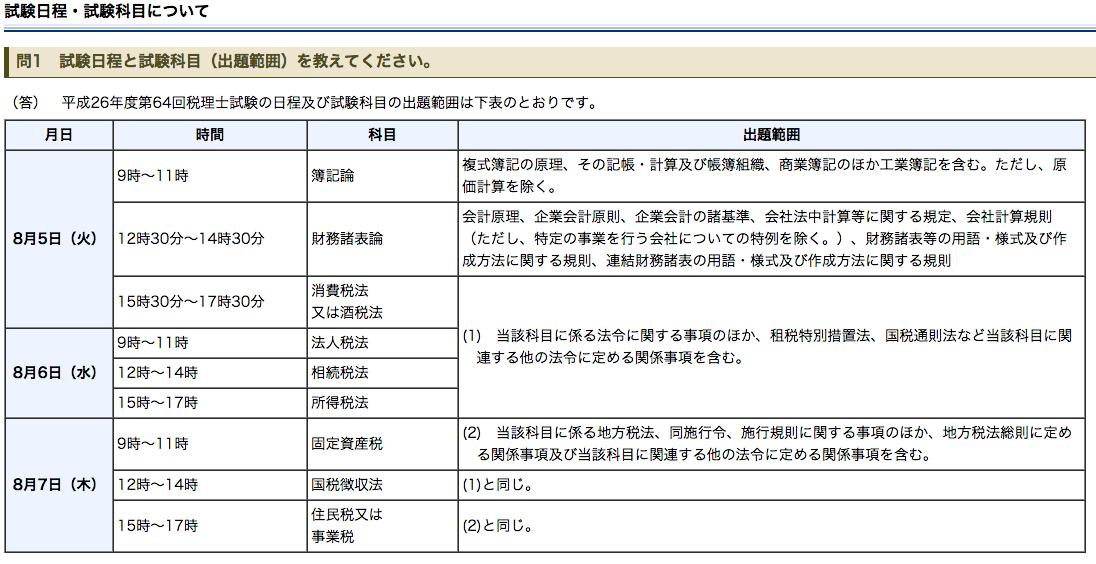 試験日程 試験科目について|税理士試験に関するQ A|国税庁